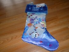 "Disney Frozen Christmas Holiday 20"" Stocking Anna Elsa Olaf Blue New"