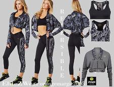 ZUMBA 3pc.SET!! CAPRI LEGGINGS Pants+Reversible BRA+JACKET Workout to Streetwear