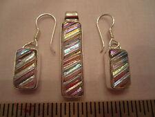 Dichroic Glass Pendant & Earrings w Sterling (#33)