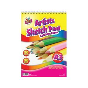 A3 20 Sheets Sketch Pad - Drawing Arts Crafts Kids Children Adults School Colour