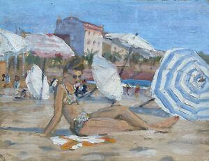 RENE HUTET (1907-1994) FRENCH IMPRESSIONIST OIL - 1950'S LADY ON BEACH SWIM SUIT