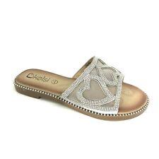 Bottes Femme Plates Tongs Été curseurs à Enfiler Confortable Clouté Sandales Taille