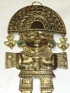 Maya Inka Azteken Wandfigur Schutzgot Figur aus Messing Tumi de Oro Ritual NEU