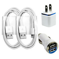 2x Charging / Sync Kits Cords + Wall & Dual Output Car Charger for iPhone 6s 5s