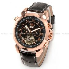 JARAGAR automatic mechanical gent Watch leather Strap Date Skeleton Date Classic