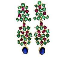 Chandeliers 19.40ct Burma Sapphire Colombia Emerald & Ruby earrings 18K
