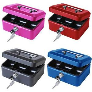 "6"" inch Small Key Lock Petty Cash / Piggy Bank Money Box Tin Safe Pink Lockable"