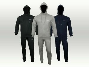 Men Terry Fabric MAN Logo Full Tracksuit Set Hooded Top Jogger Fitted Winter Gym