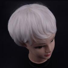 1pc Women Short Wavy Fluffy Silver White Heat Resistant Synthetic Hair Full Wigs