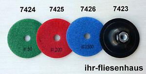 Sigma 4-tlg. Set: Diamant Schleifscheibe Pad 50, 200, 1500 + Tragscheibe Granit