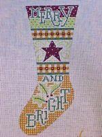 Needlepoint Canvas Hand Stitch Painted Heidi Christmas Stocking Merry Bright