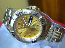 Seiko 5 Sports 40mm Auto 100m 23 j 7S36 -02G0 Divers Orig Gold SS Strap