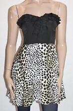 Bardot Designer Cheetah Chiffon Sporty Flip Strapless Dress Size S BNWT #SZ57