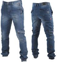 Lee Cooper Mens Cuffed Cargo Jeans Denim Combat Trousers Work Casual Black Blue