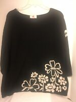 QUACKER FACTORY Black Sweater w Floral Embroidery & Sequin Womens Sz 2X VGC