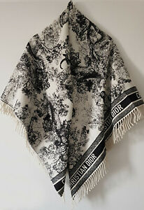 Christian Dior 2019 Cruise Collect Toile de Jouy Shawl Plaid 140cm Throw Blanket