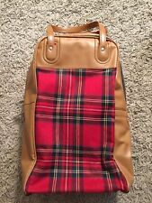 Vintage Brown Bag W/Red Plaid, 13""