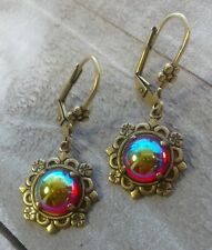 Flower Earrings w/Prong and Leverback Victorian Vintage Style Handmade 9mm Small