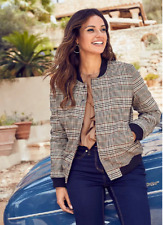 Bonprix Brown Black Padded Checked Bomber Jacket Plus Size 22 NEW