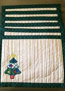 Vintage Place-mats set 6 Christmas Trees Green Red Shabby Chic Quilted Applique