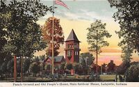 LAFAYETTE INDIANA PARADE GROUND~CANONS~STATE SOLDIERS HOME POSTCARD c1910s