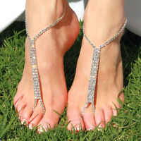 Barefoot Beach Sandals Bridal Wedding Rhinestone Anklet Foot Chain Jewelry  WH