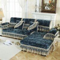 Plush Plaid Sofa Cushion  Sofa Cushion Lace Embroidery Romantic Sofa Cover