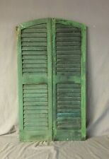 Pair Antique 14 x 48  Arch Top House Window Wood Louver Shutters Chic 145-19B