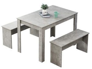 Small Kitchen Wooden Dining Table & 2 Benches Grey Space Saver Contemporary