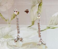 Womens Luxury Glass Crystal Stone Dangle Stud Pierced Earrings Silver Kaytie Wu