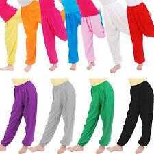 Girls Kids Children Plain Harem Trousers Baggy Long Pants Leggings 3-12 Years