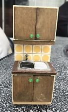 Vintage Lundby Yellow Tiled Kitchen Sink Dollhouse Furniture w/ Opening Doors