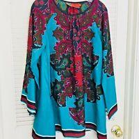 Twelve By Twelve Asymmetrical Tunic Dress Paisley Print Gypsy Boho Hippie M