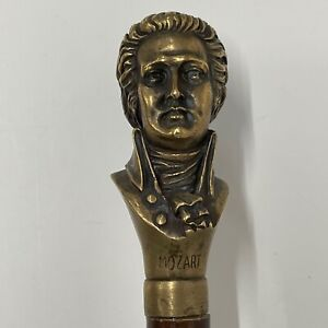 Antique walking stick cane Brass Handle Composer Mozart Victorian