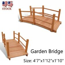 Garden Bridge Solid Wood 5' Outdoor Decor Backyard Patio Pond Arch Walkway Chic