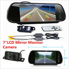 "WIRELESS CAR REAR VIEW KIT 7""LCD MIRROR MONITOR+IR REVERSING CAMERA NIGHT VISION"