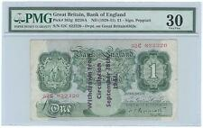 1941 Great Britain 1 Pound Note p. 363g Withdrawn Overprint - PMG 30 Peppiatt