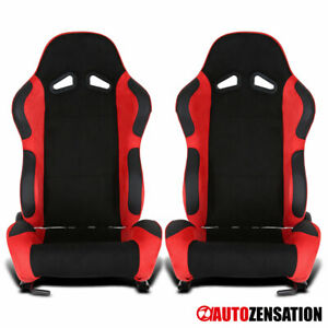 Reclinable Black Red Suede Stitch Sporty Racing Seats w/ Sliders Left+Right