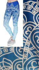Super Soft Matte Fabric Blue Mandala Print Leggings Trousers One size UK8-12