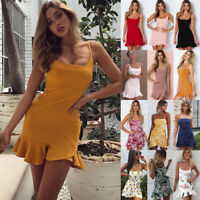 Womens Ladies Camisole Mini Straps Short Summer Sexy Bodycon Party Dress