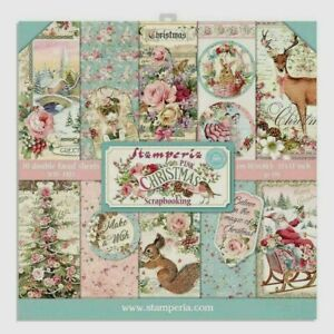 """Stamperia Paper Pad 12"""" X 12"""" 10 Pack Double Faced Sheets Pink Christmas"""