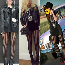 Punk Rock Black Vertical Stripe Pantyhose Stockings Tights Tattoo For Women