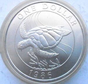 Bermuda 1986 Sea Turtle Dollar Silver Coin,UNC
