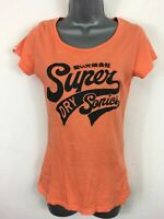 WOMENS SUPERDRY ORANGE COTTON BLACK LOGO MOTIF SHORT SLEEVE T-SHIRT TOP SMALL