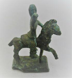 CIRCA 100 BC - 100 AD ANCIENT CELTIC BRONZE HORSE & RIDER FIGURINE SUPERB