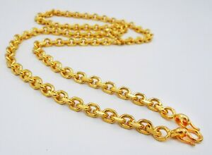 """7 MM Men's Chain 24K 23K Thai Baht Gold Filled Yellow GP Necklace 28"""" Jewelry"""