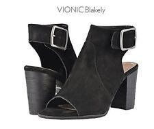 Vionic Orthaheel PERK BLAKELY Leather Heeled Sandals Shoes BLACK Size 9 W NIB