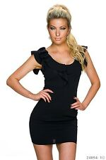Sexy Kleid Kurzarm Minikleid  Rundhals ausschnitt Volants Schwarz 34 36 38