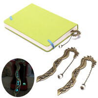 2X retro glow in the dark leaf feaher book mark with dragon luminous bookmark EV