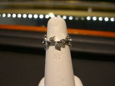 FINE WOMENS 14 KARAT WHITE GOLD DIAMOND RING FLORAL SIZE 6 NEW WOW HAND MADE